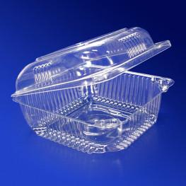 Контейнер пластиковый 450мл PET прозрачный с нераздельной крышкой 9,8х9,8х5,4см 600 шт/кор ПР-К-10 А ПЭТ