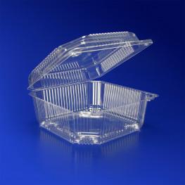 Контейнер пластиковый 1250мл PET прозрачный с нераздельной крышкой 13,9х13,9х6,6см 300 шт/кор ПР-К-15 А ПЭТ