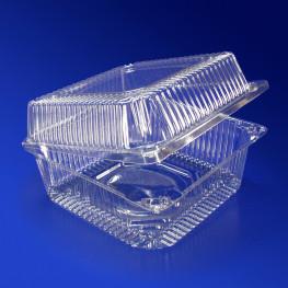 Контейнер пластиковый 1450мл PET прозрачный с нераздельной крышкой 13,9х13,9х7,5см 300 шт/кор ПР-К-15В А ПЭТ