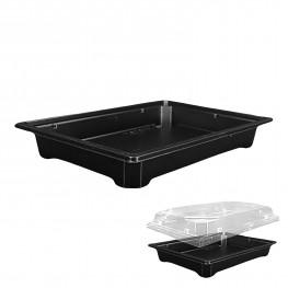 Дно к контейнеру для суши 18,2х12,7х2,5 внешн PET черное 400 штук в коробке