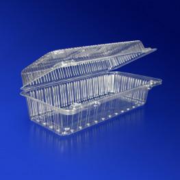Контейнер пластиковый 1050мл PET прозрачный с нераздельной крышкой 19,0х8,5х6,5см 400 шт/кор ПР-К-19В A ПЭТ