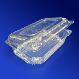 Контейнер пластиковый 1200мл PET прозрачный с нераздельной крышкой 18,9х11,7х5,6см 300 шт/кор ПР-К-21 М ПЭТ А