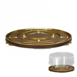 Дно к упаковке для пирога и торта d25,5см внешн золотое ПЭТ 110 штук в коробке