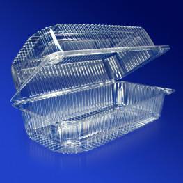 Контейнер пластиковый 2000мл PET прозрачный с нераздельной крышкой 22,3х11х8,5см 330 шт/кор ПР-К-27 ПЭТ A