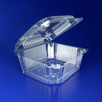 Контейнер пластиковый 1000мл PET прозрачный с нераздельной крышкой 13,5х11,5х6,5см 320 штук в упаковке