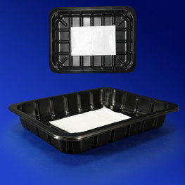 Лоток под запайку 22,7х17,8х3,5см 1050мл PP черный с салфеткой 280 штук в коробке