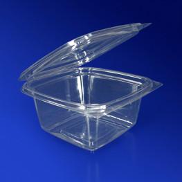 Контейнер пластиковый 500мл PET прозрачный с нераздельной крышкой 13,7х13,7х6,8см 300 шт/кор ПР-СК-РГ-500 А ПЭТ