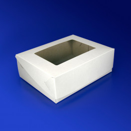 Упаковка для пирожного 18х14х6см картон белая 200шт/уп с окном