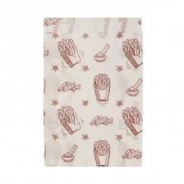 Пакет бумажный 17х11х5см белый с рисунком для фри жиростойкий 35гр/м2 100 шт/уп