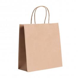 Пакет-сумка бумажная прочная 35х26+15см крафт ручки крученые 70гр/м2