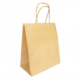 Пакет-сумка бумажная прочная 25х22+12см крафт ручки крученые