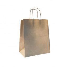Пакет-сумка бумажная прочная 28х24+14см крафт ручки крученые