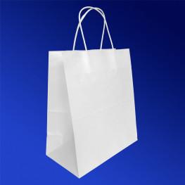 Пакет-сумка бумажная прочная 28х24+14см белая ручки крученые 70гр/м2