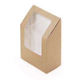 Упаковка для роллов крафт/ламинир 9х5х13см 450мл с окном ECO ROLL