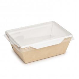 Упаковка крафт/ламин 14,0х10,0х4,5см 400мл с прозрачной крышкой ECO OPSALAD 400
