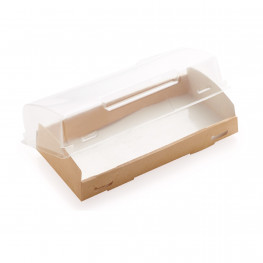 Упаковка крафт/ламин 20х10х4см 600мл с прозрачной крышкой купол ECO OpBox 600