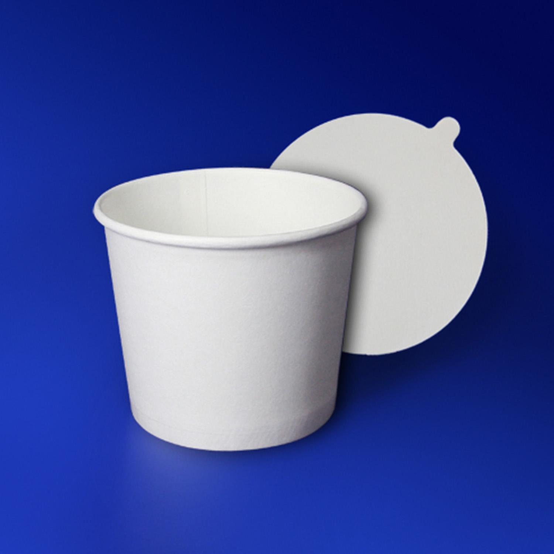 Креманка бумажная 180мл белая с крышкой для мороженого