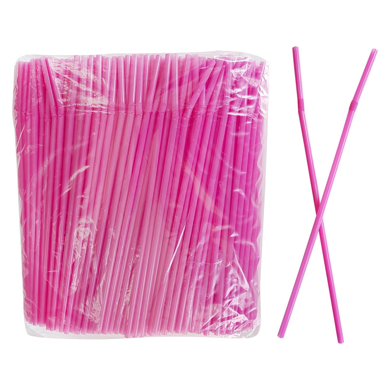 Трубочка d0,5x24см розовая 500шт/уп с гофрой