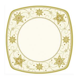 Тарелка праздничная картон 26х26см Звезды  8шт/уп ламинированная