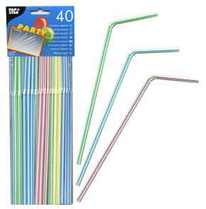 Трубочка d0,5x21см разноцветная 40шт/уп Ps