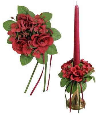 Букет на свечу d3см внутр Цветы бордовые