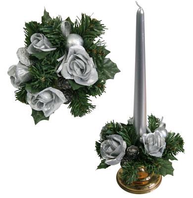 Букет на свечу d3см внутр Новогодние розы серебристые