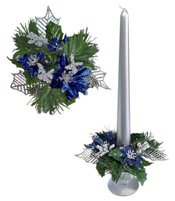 Букет на свечу d3см внутр Новогодняя звезда синяя