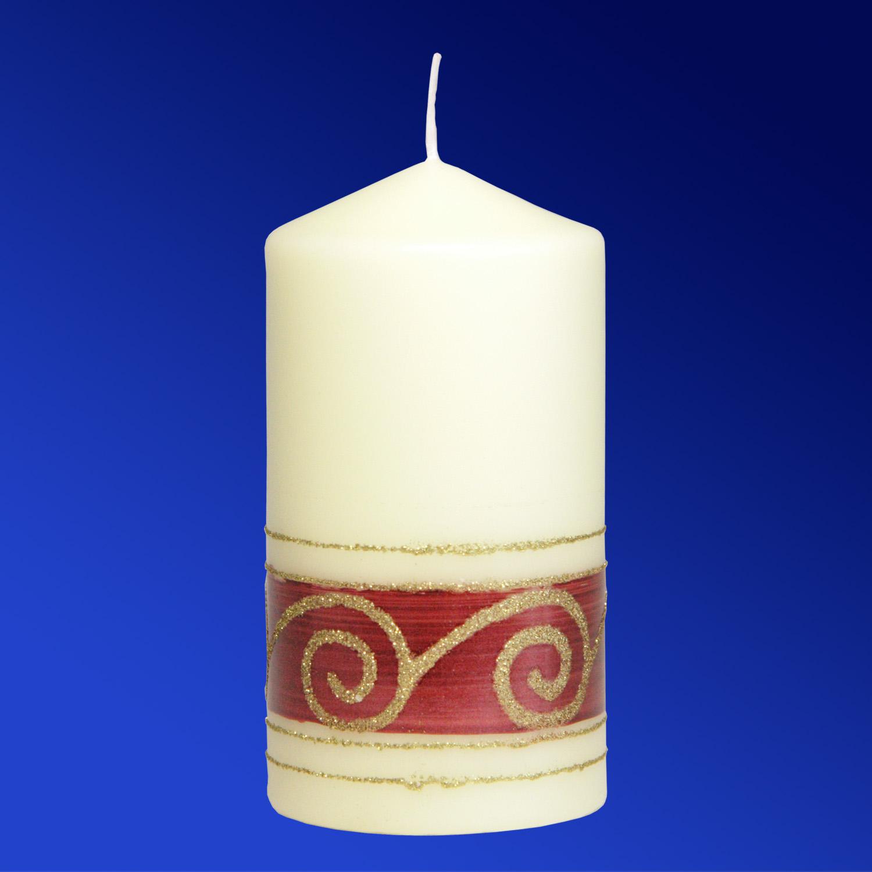 Свеча d7х13см Снежинка кремовая