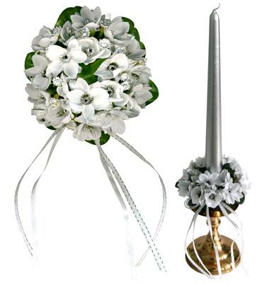Букет на свечу d3см внутр Цветы серебристые