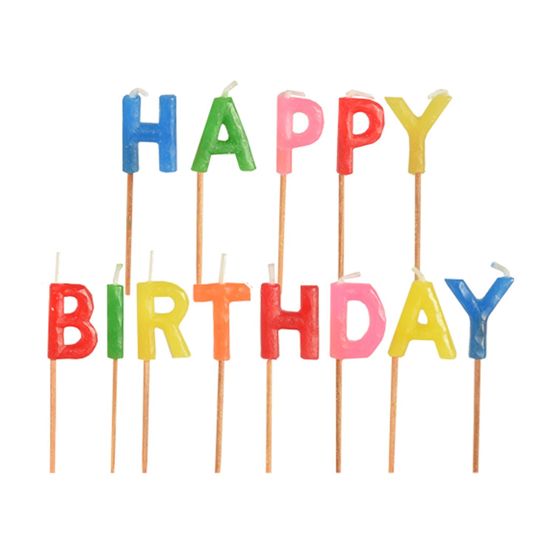 Свечи для торта 8см буквы Нарру Birthday