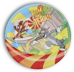 Тарелка праздничная картон d19см Том и Джерри  10шт/уп ламинированная