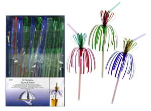 Трубочка Цветок и Пальма d0,5x24см разноцветная 50шт/уп Kg