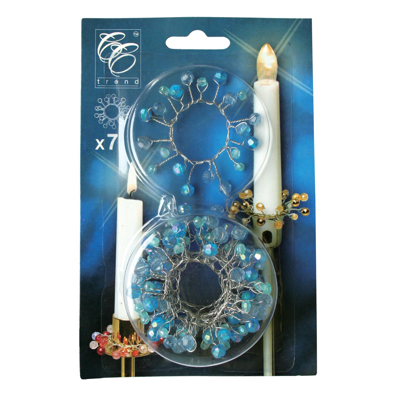 Венок на свечу d22мм внутр Сапфировые бусы 7шт/уп