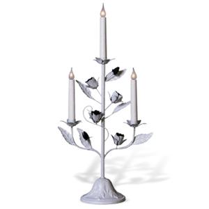 Канделябр LED Розетта белый 3 свечи