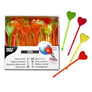 Шпажка  8,5см Сердце пласт цветн 250шт/уп