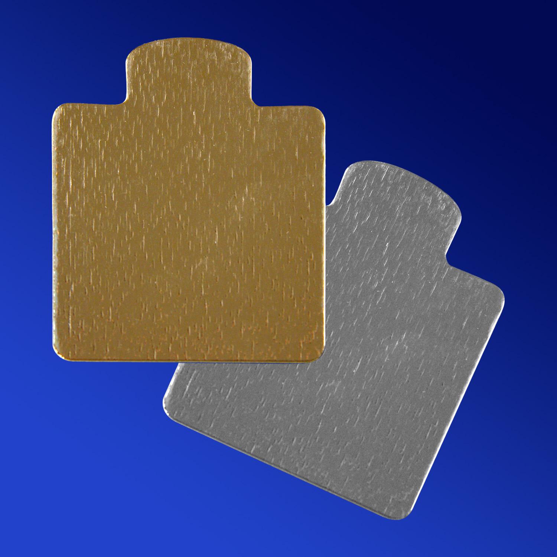 Подставка п/торт   9,6x7,5см золотистая/серебро 100 шт/уп  с ручкой