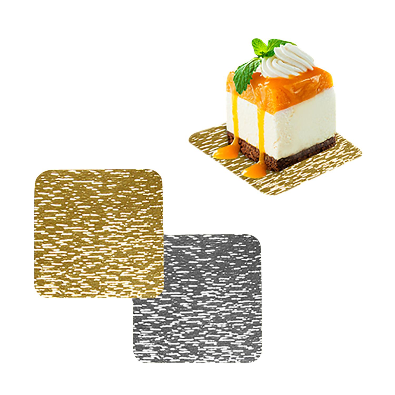 Подставка п/торт   12x12см золотистая/серебристая 100 шт/уп  с ручкой