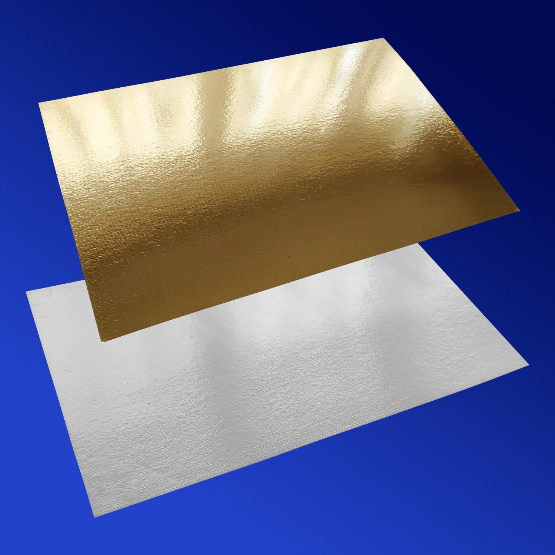 Подставка п/торт  40,0х60,0смх1,8мм золотистая/белая прям