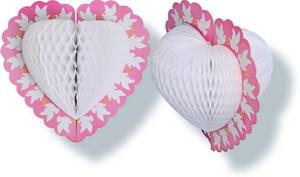 Декорация  Сердце с голубями  белая   30см