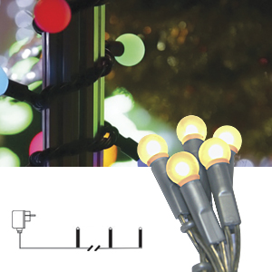 Гирлянда        2,85м теплобелая Жемчуг кабель серебристый 1,5м 20диодов LED indoor