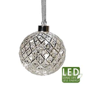 Гирлянда        2,1м серебристая Шары стекло Ромона d10см кабель прозрачный 3м 8диодов LED indoor