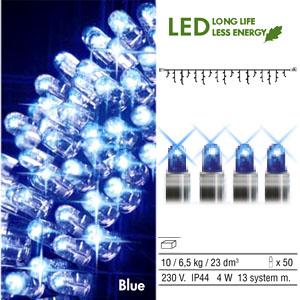 Гирлянда дождь  3x0,4м голубая кабель черный дополнительная 50диодов LED outdoor