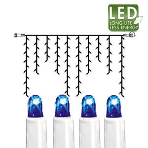 Гирлянда дождь  2x1м голубая кабель белый дополнительная 100диодов LED outdoor