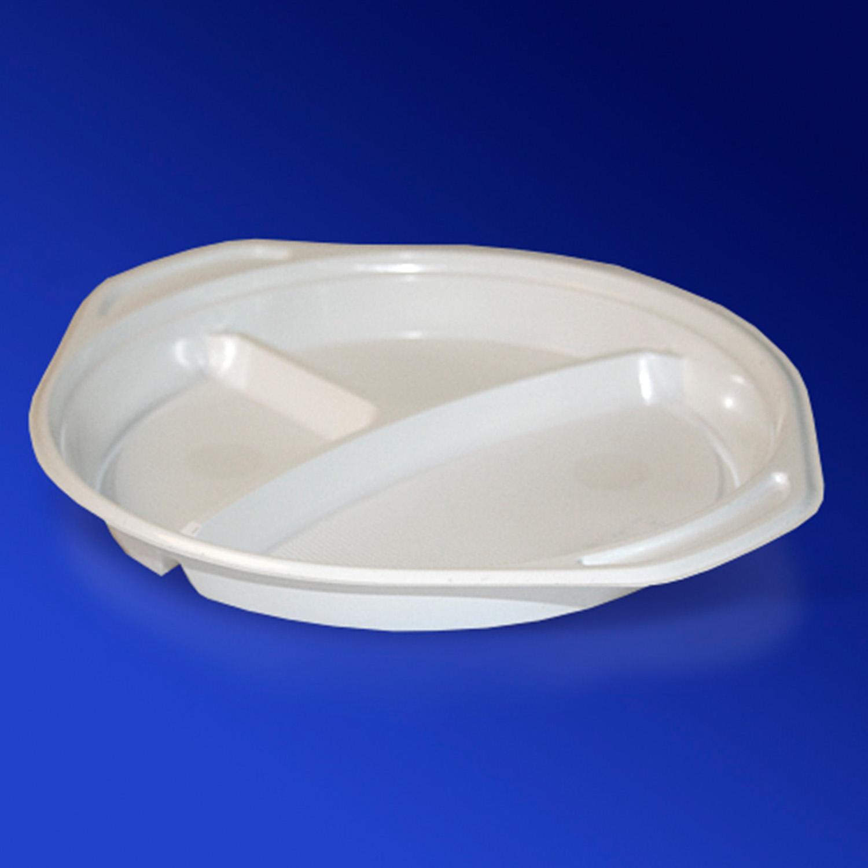 Тарелка одноразовая PP d22см С-3 белая  100шт/уп с ушками