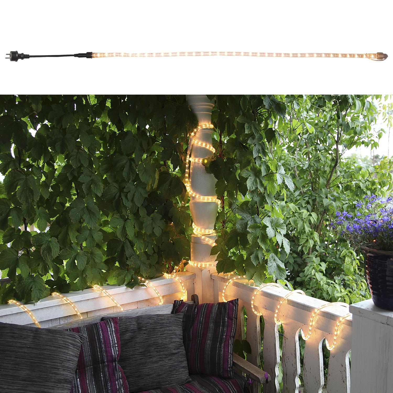 Гирлянда дюралайт  6м теплобелая прозрачная кабель черный 1,8м стартовая Ropelight d13мм 216ламп EXPO outdoor