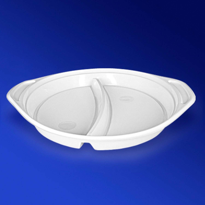 Тарелка одноразовая PP d22см С-2 белая  100шт/уп с ушками