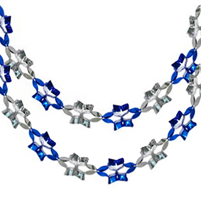 Гирлянда из фольги серебр/синяя 2,7мх15см