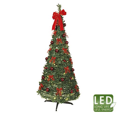 Елка     1,85м конус-нахлобучка с красными украшениями и огнями теплобелая кабель зеленый 2м 144диода LED d0,85м indoor