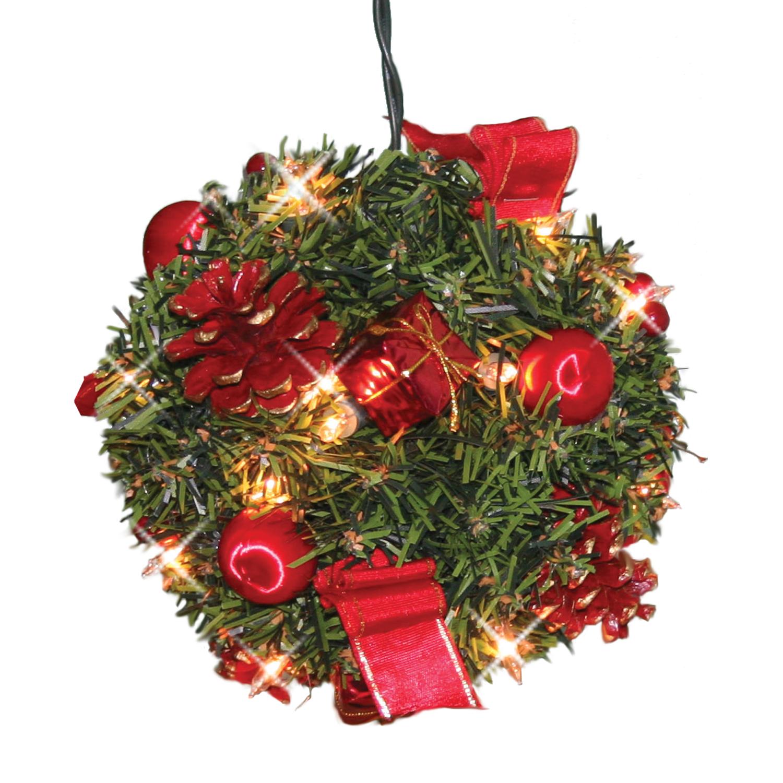 Декор еловый шар d18см зеленый с огнями 20 ламп и красными шишками кабель зеленый