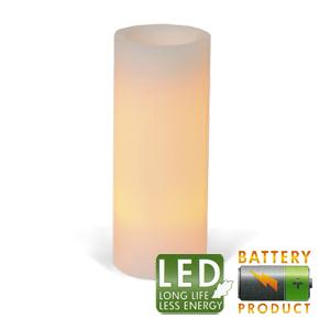 Свеча светильник LED d 10x25см кремовая таймер батарейка
